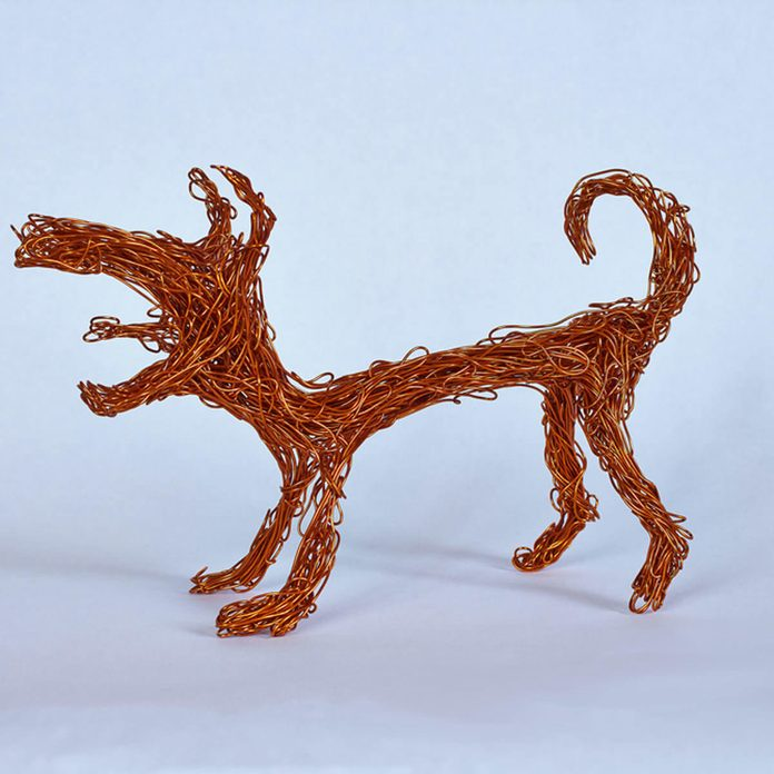 copper wire dog figurines
