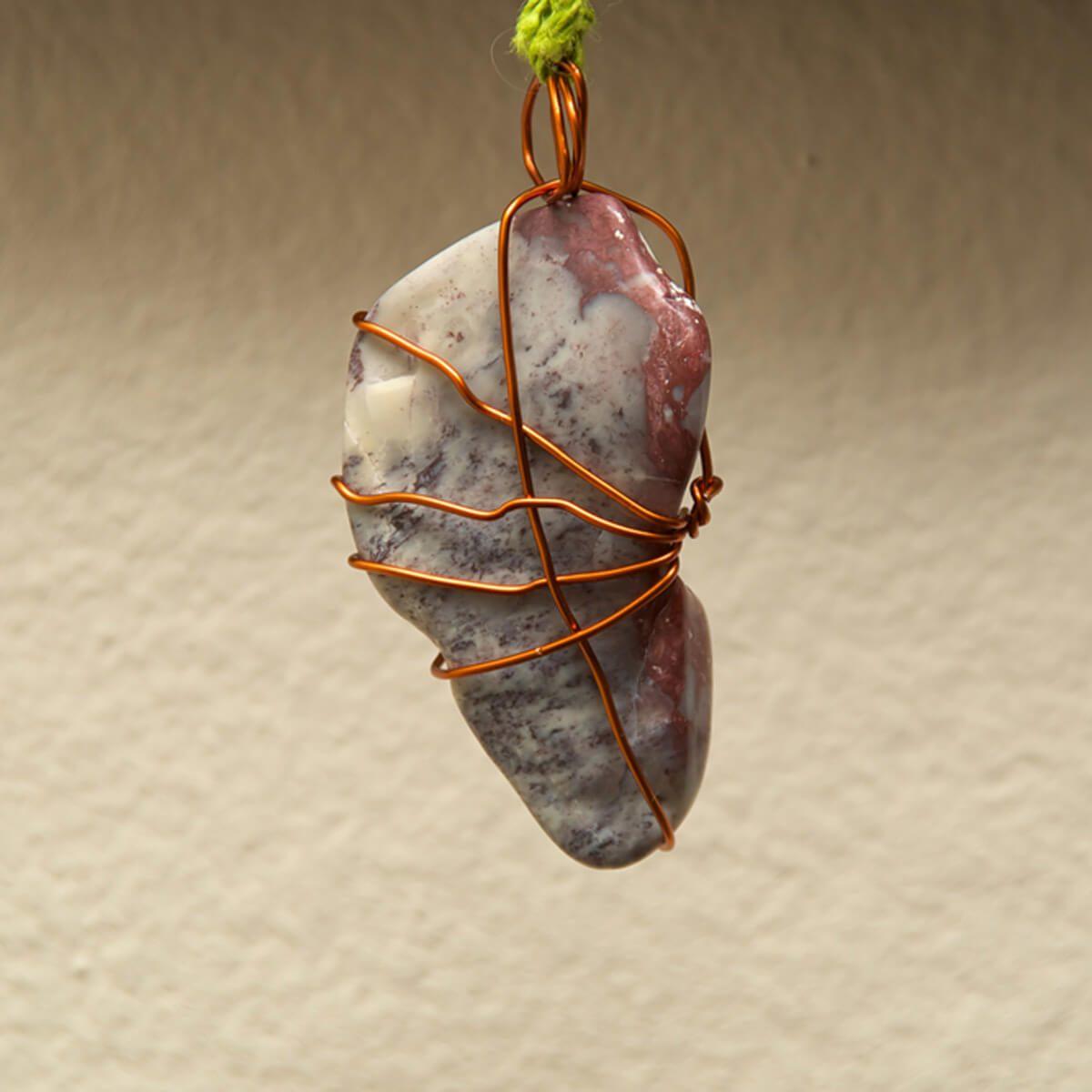 copper wire necklace pendant