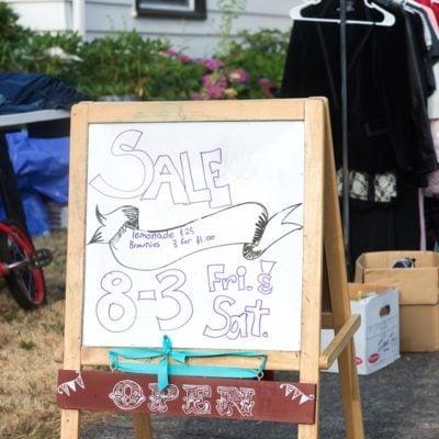 drawing board garage sale tips