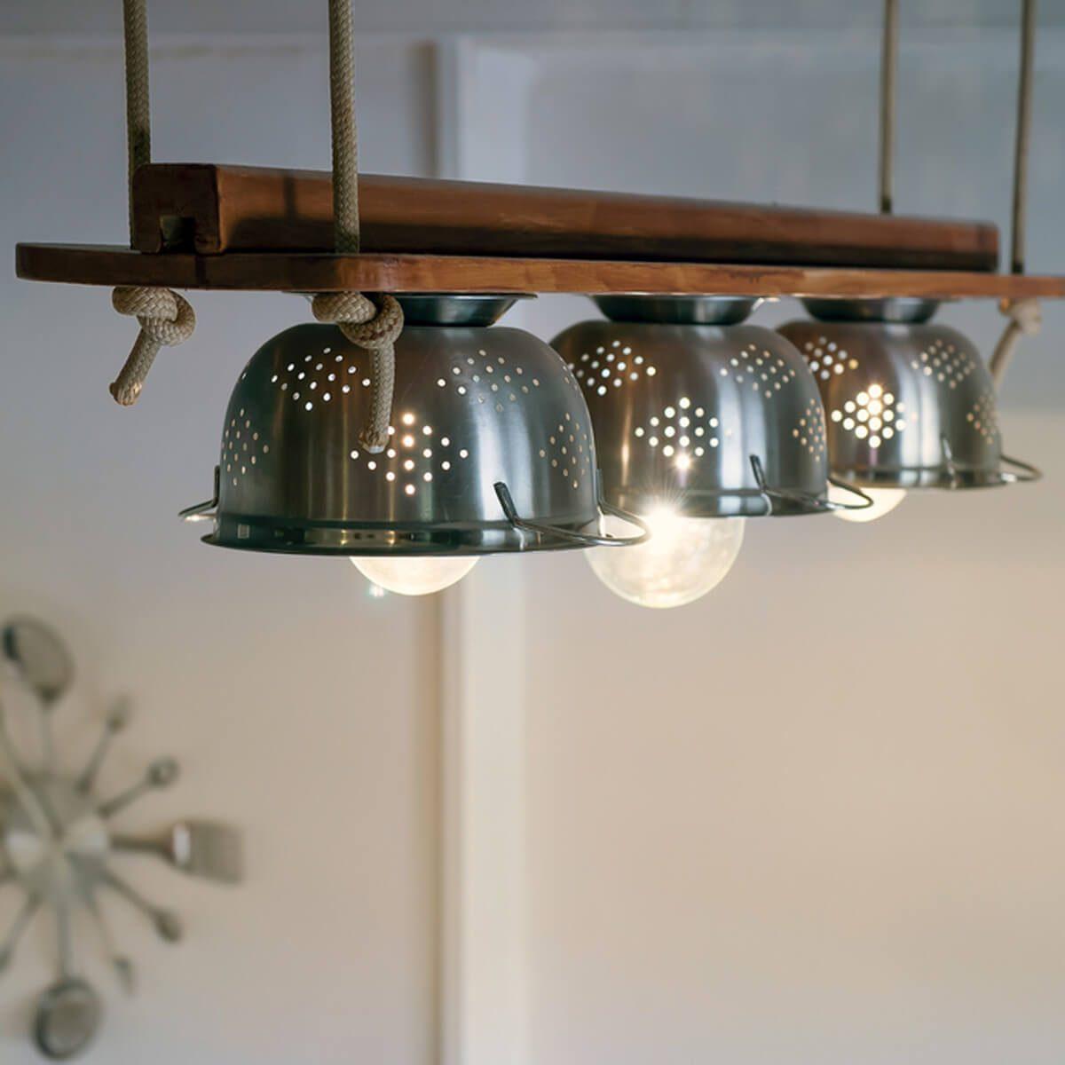 kitchen lighting colander bowls