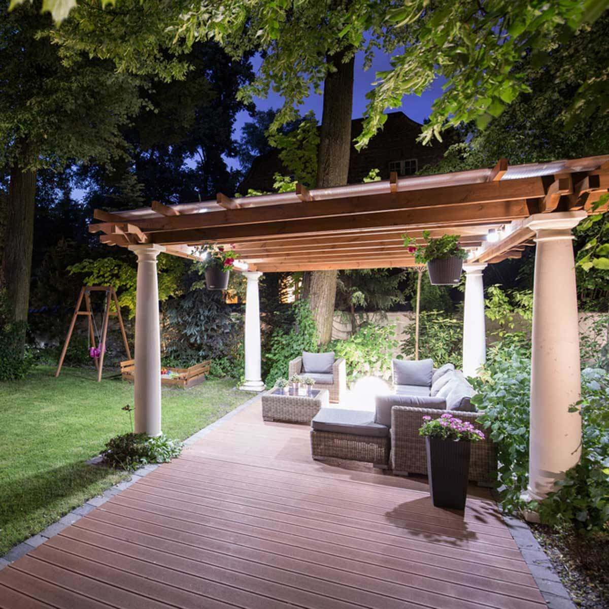 12 Ideas For Lighting Up Your Deck Family Handyman The Wiring Outlets On A Hang Lights Pergola