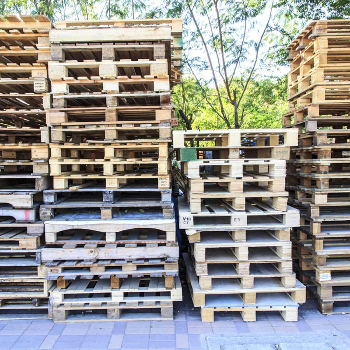 wood pallet stacks
