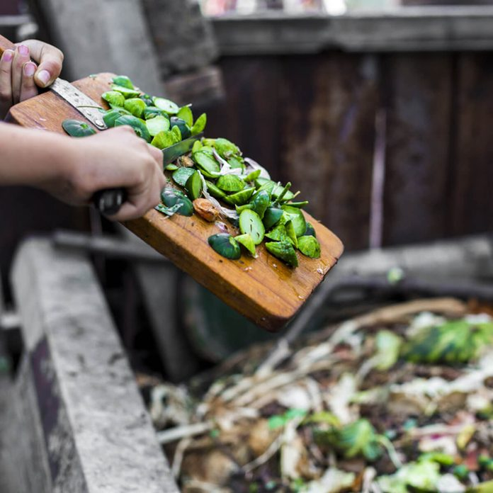 scraping food into compost pile