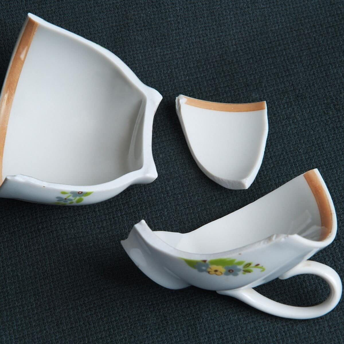 broken tea cup ceramics