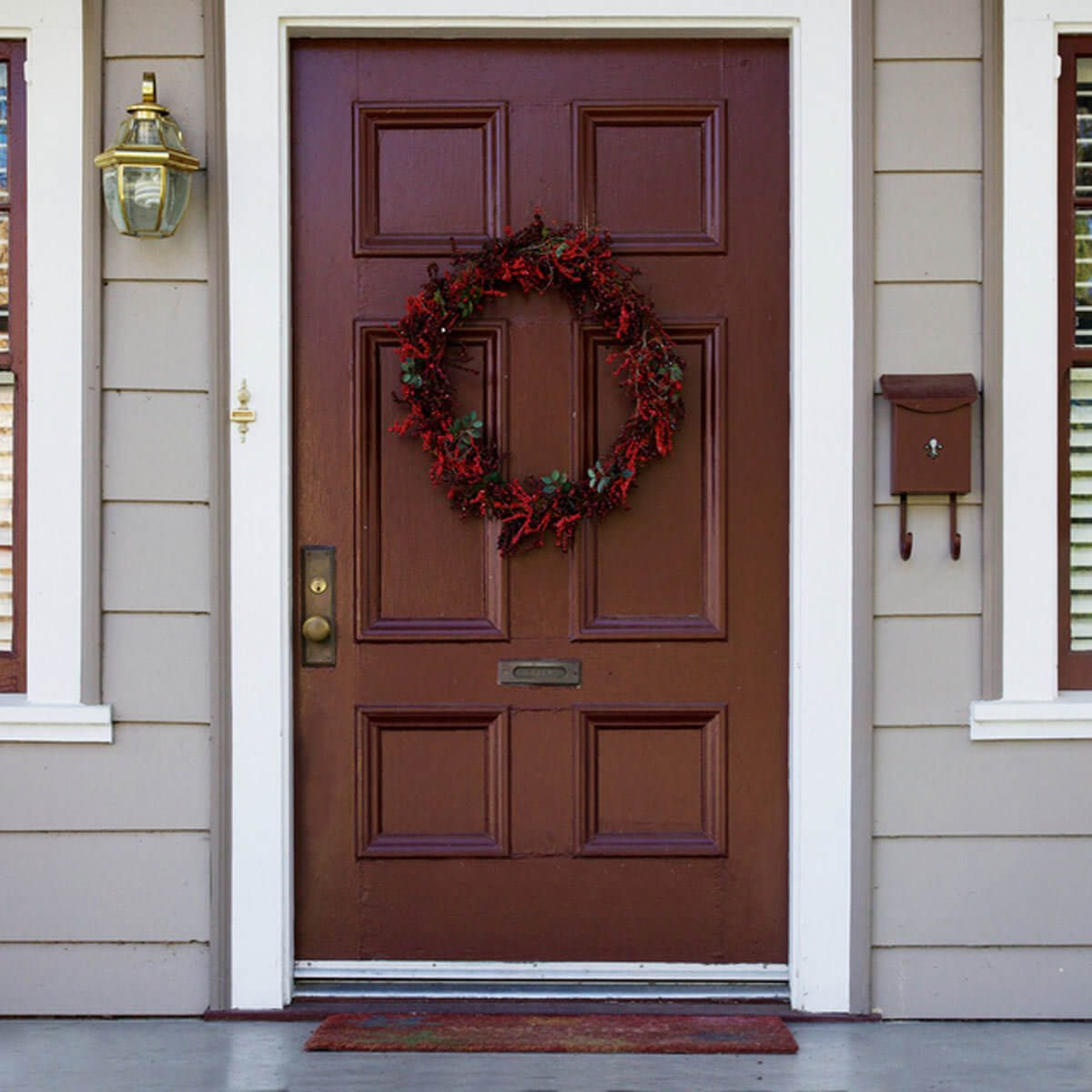 Burgundy Front Door with Wreath