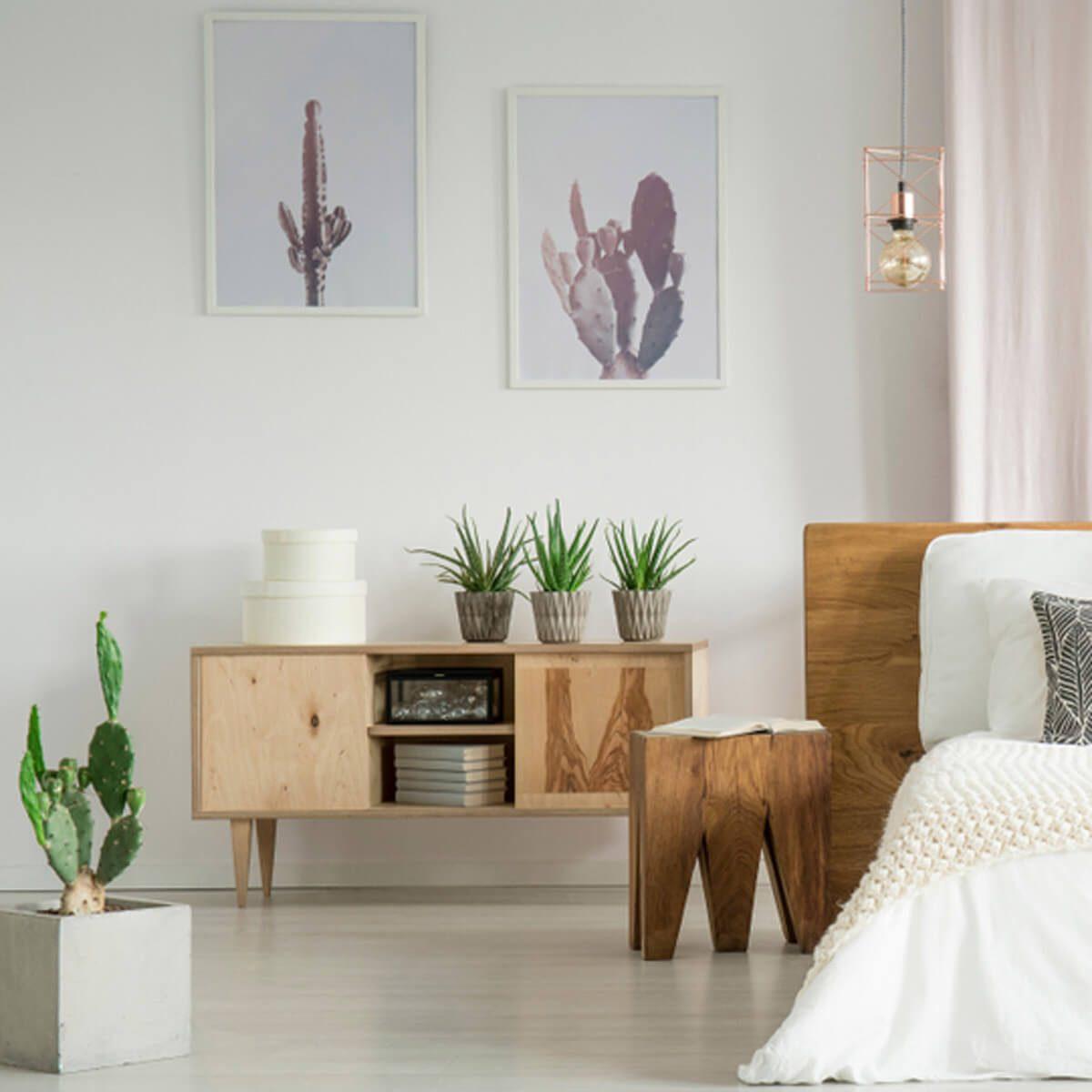 Cactus Artwork Bedroom