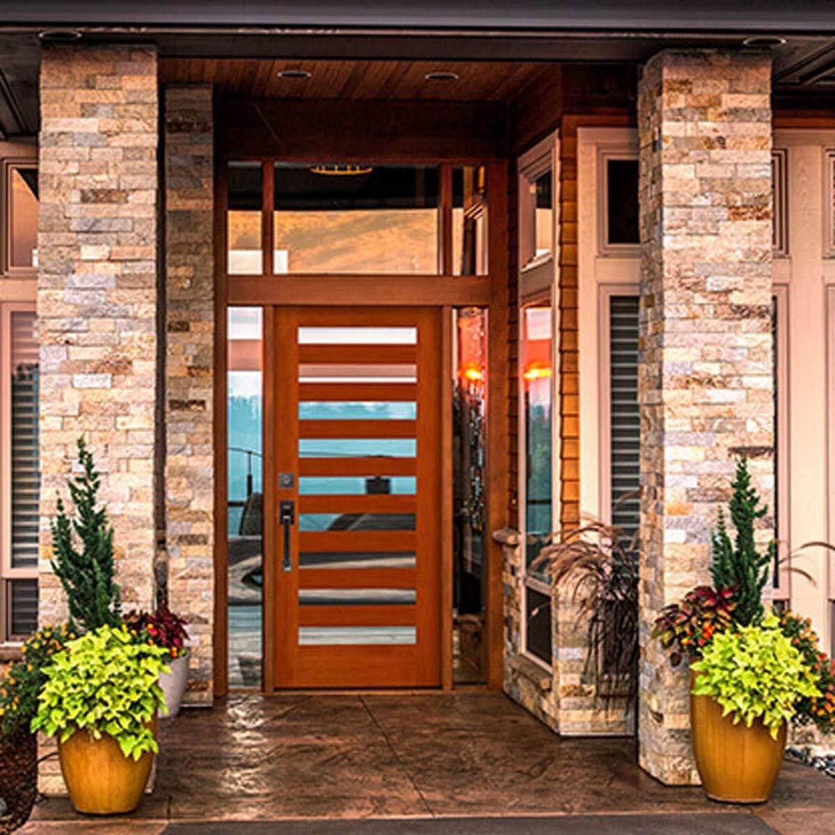 modern slat front door