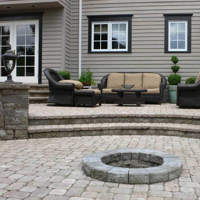 Multi-Level Patio with Brick Fire Pit