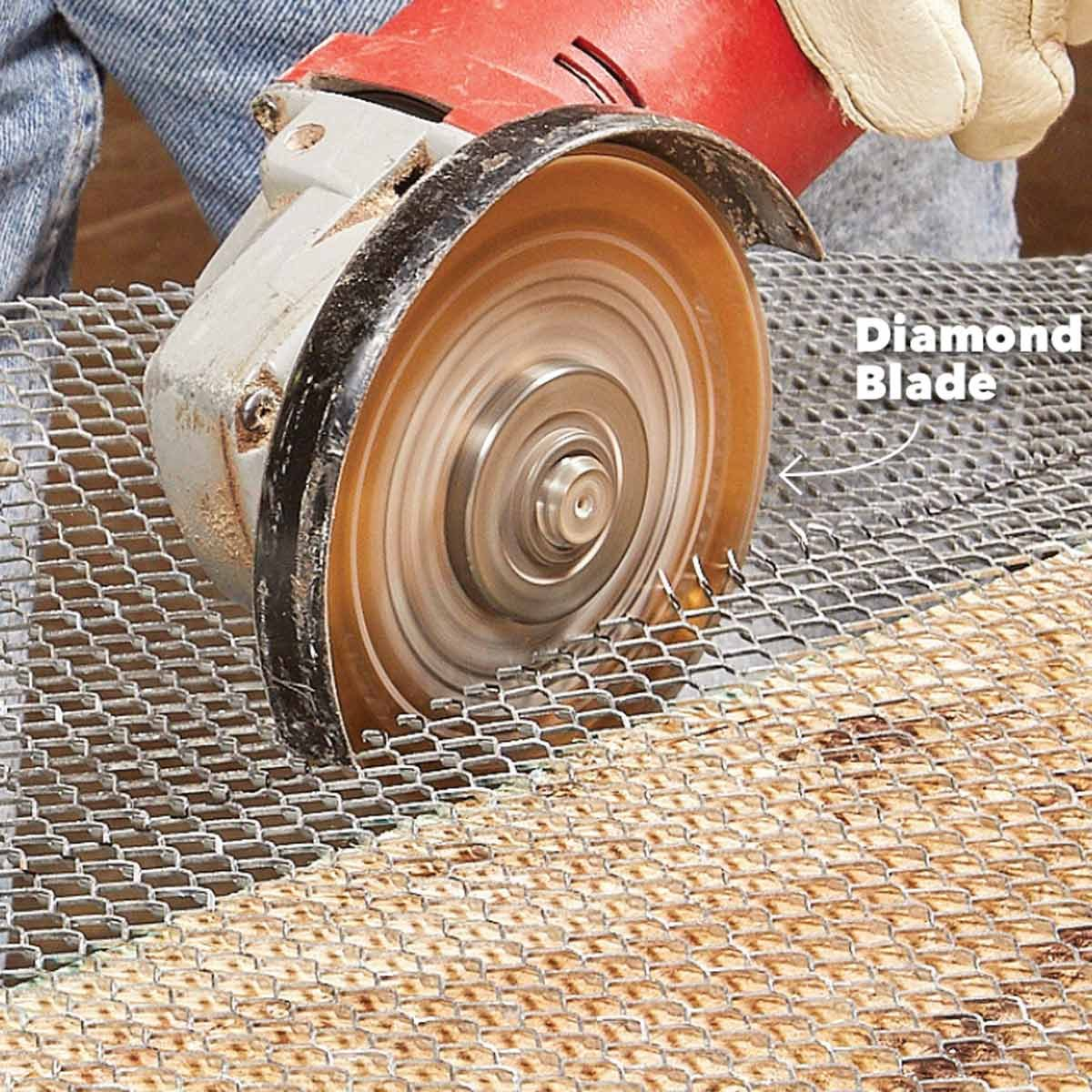 cut metal lath with with a grinder