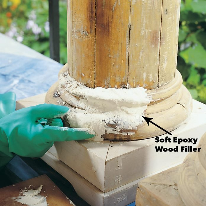 overfill wood rot area with epoxy