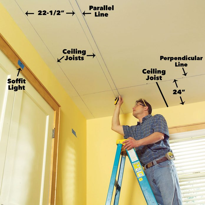 Mark the joist locations soffit lighting