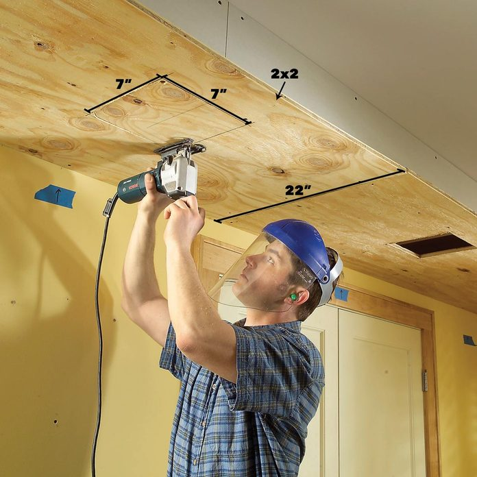 Cut holes for lights soffit lighting