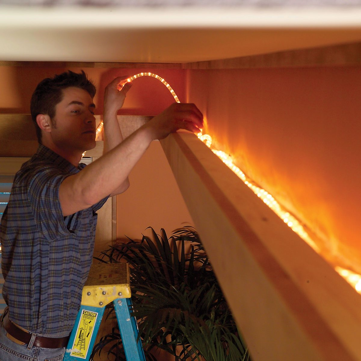 Lay the rope lights soffit lights