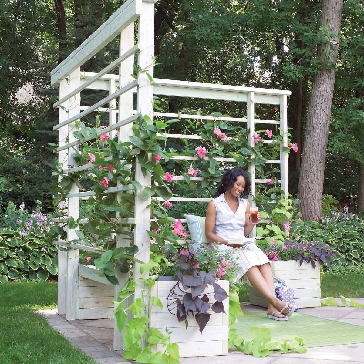 build a chair into a wood arbor