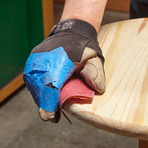 sandpaper glove painters tape hack