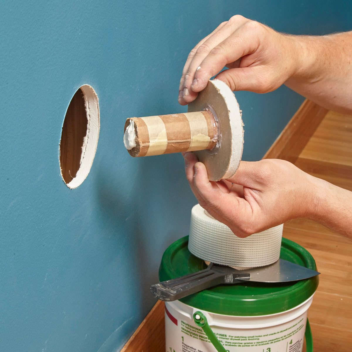 reuse drywall cutouts — tip from the family handyman