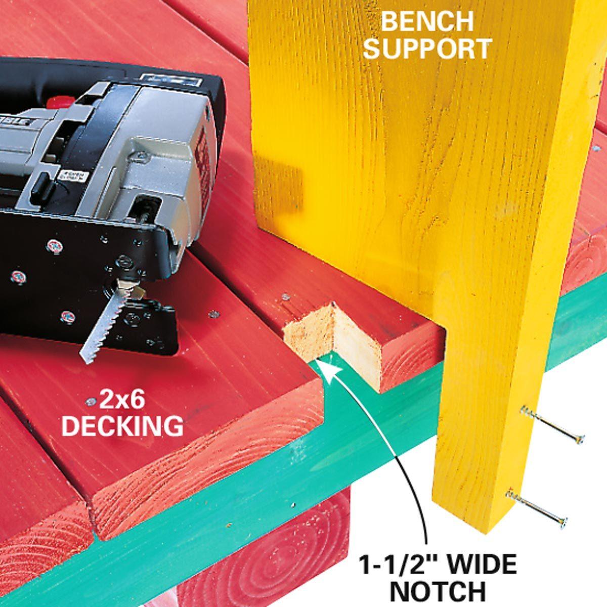 simple deck bench top