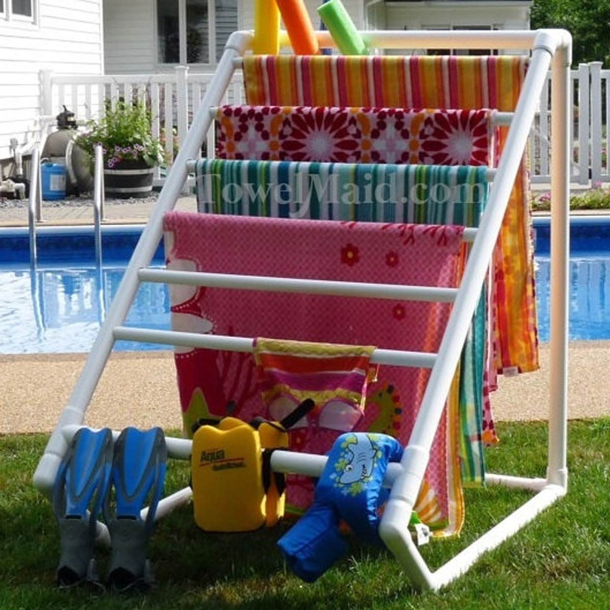 pvc beach towel drying rack