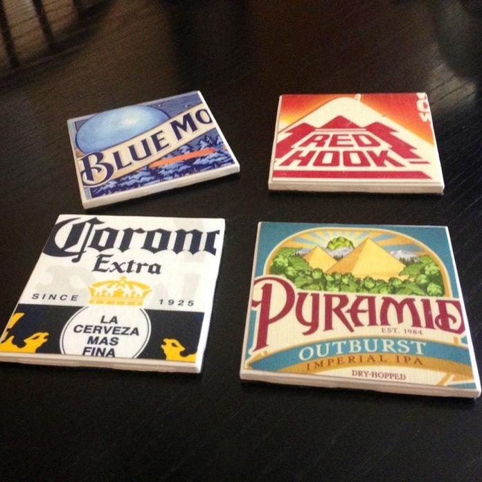 cardboard boxes coasters beer logo
