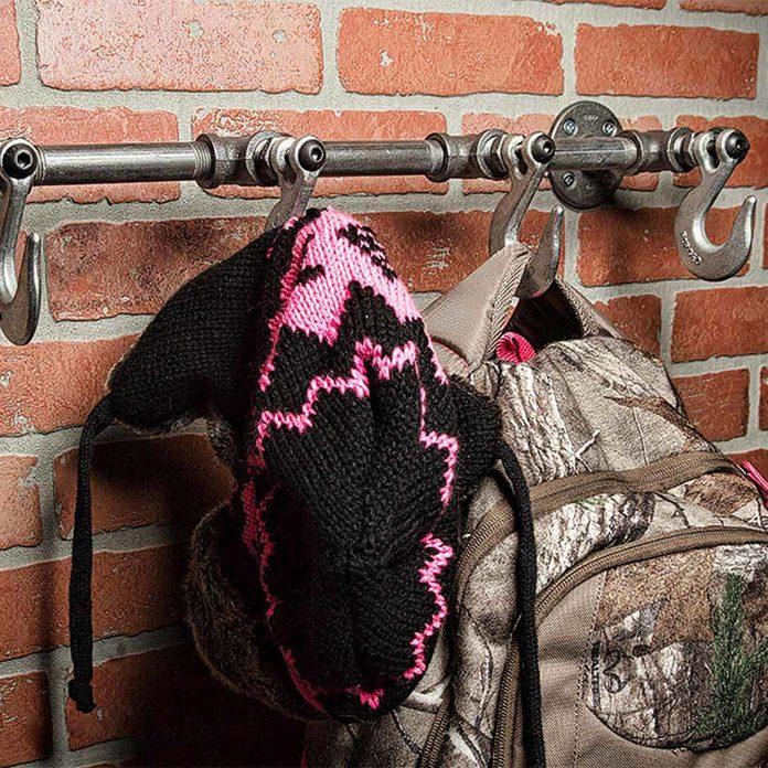 industrial DIY coat rack