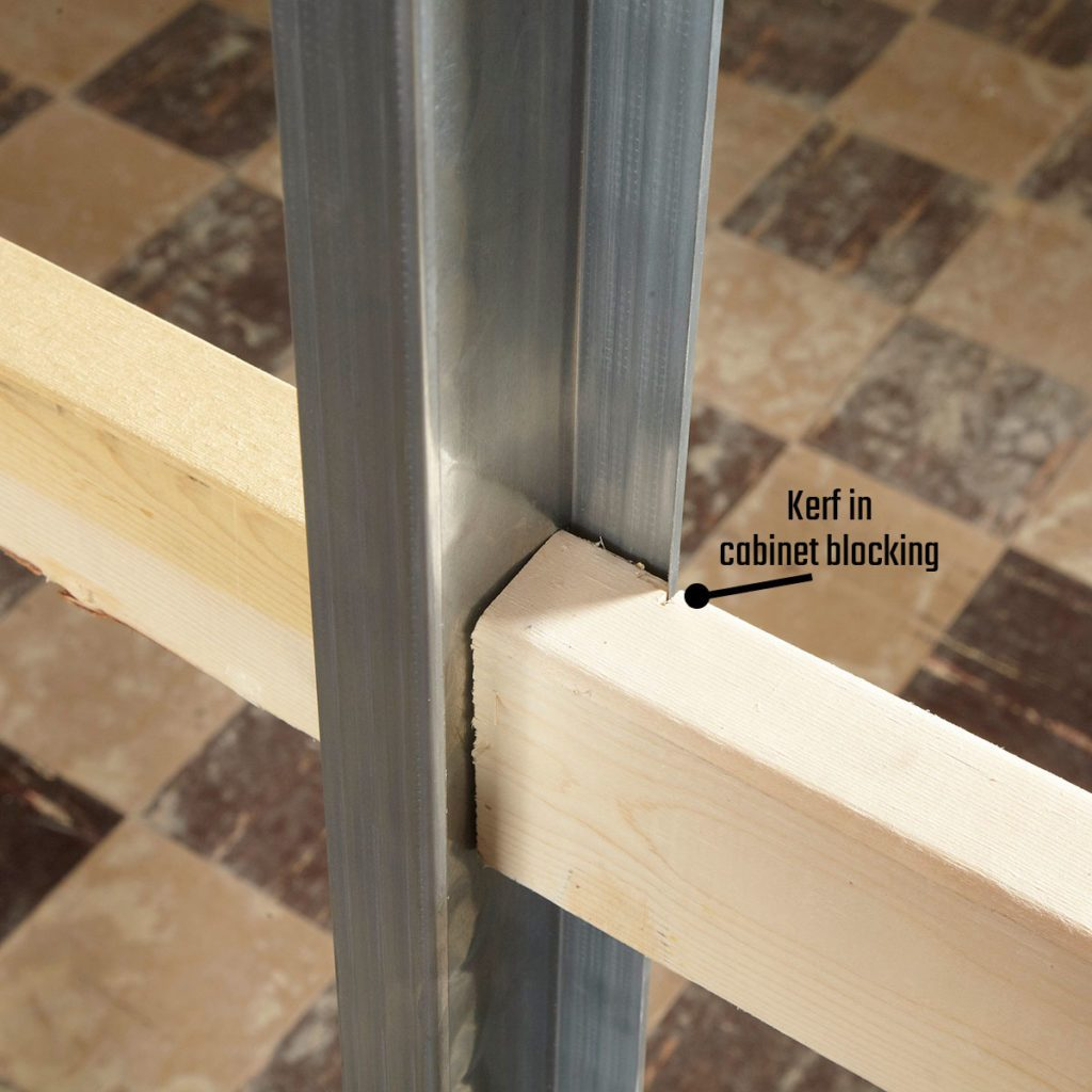Cutting a kerf in Cabinet Blocking | Construction Pro Tips