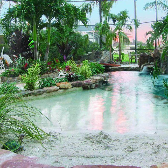 private beach pool sand
