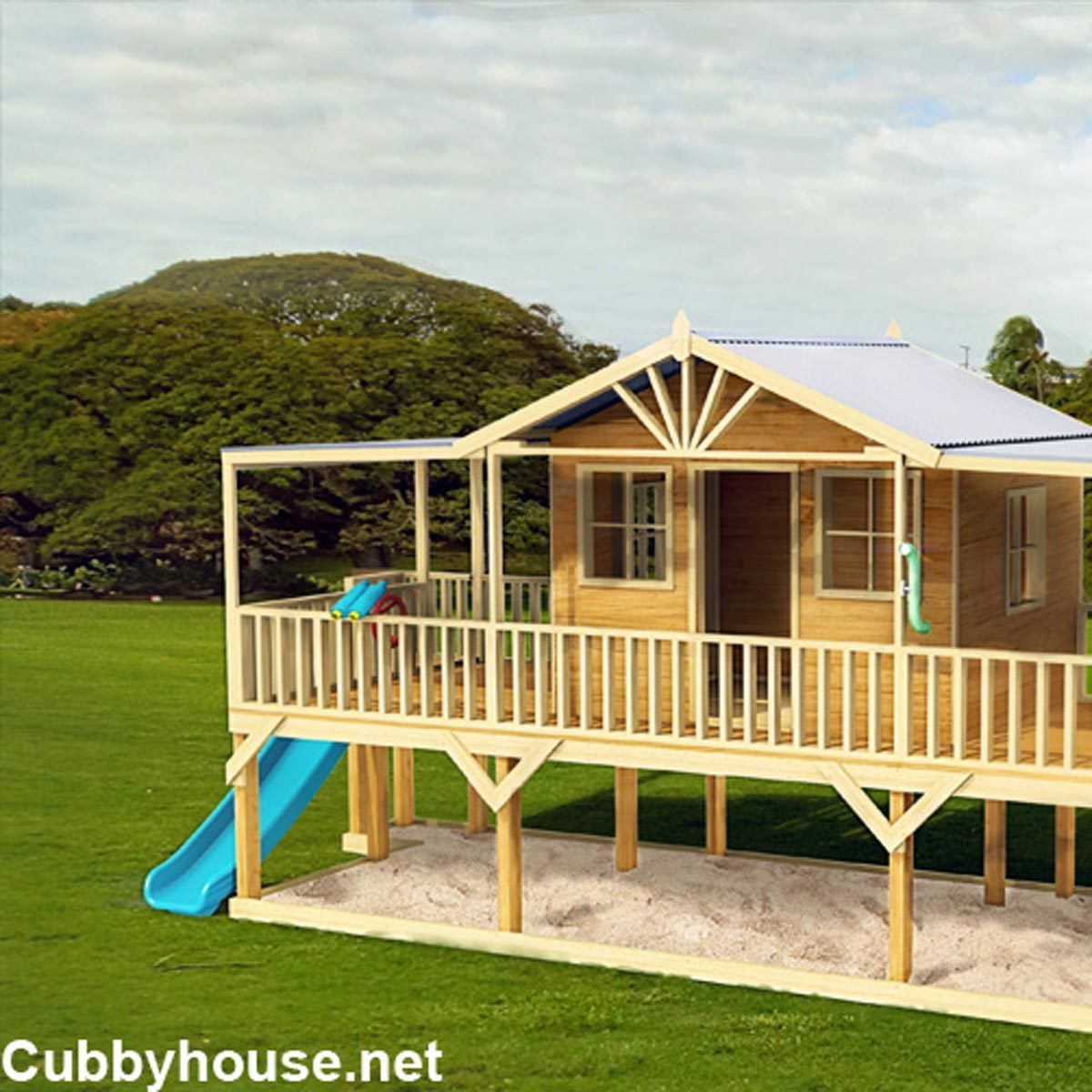 Playhouse sandbox swingset