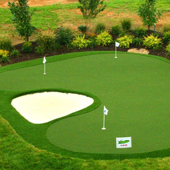 backyard putting green golf course sand trap