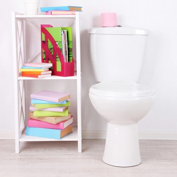 bookshelf in bathroom