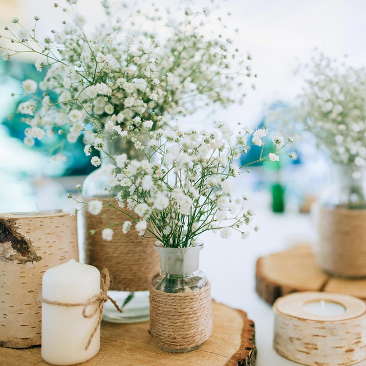 tree stump wedding centerpieces