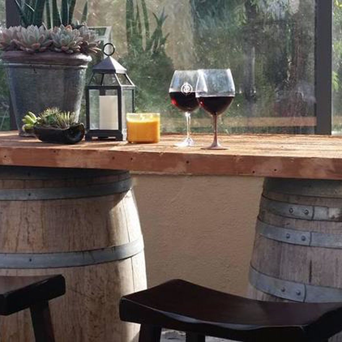 wine barrel patio bar table