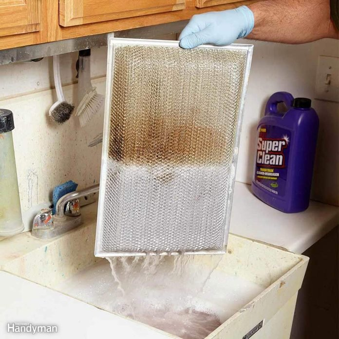 cleaning a kitchen hood vent