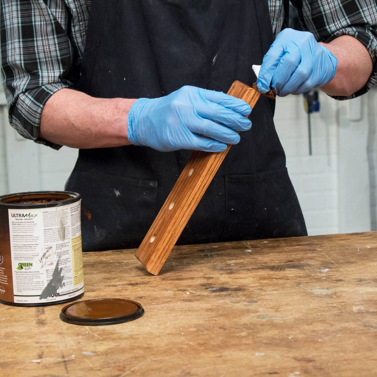 Magnetic Knife Strip Sand and stain the wood