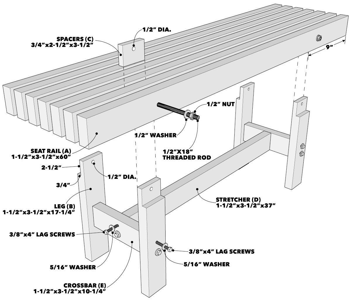 Trestle bench tech art