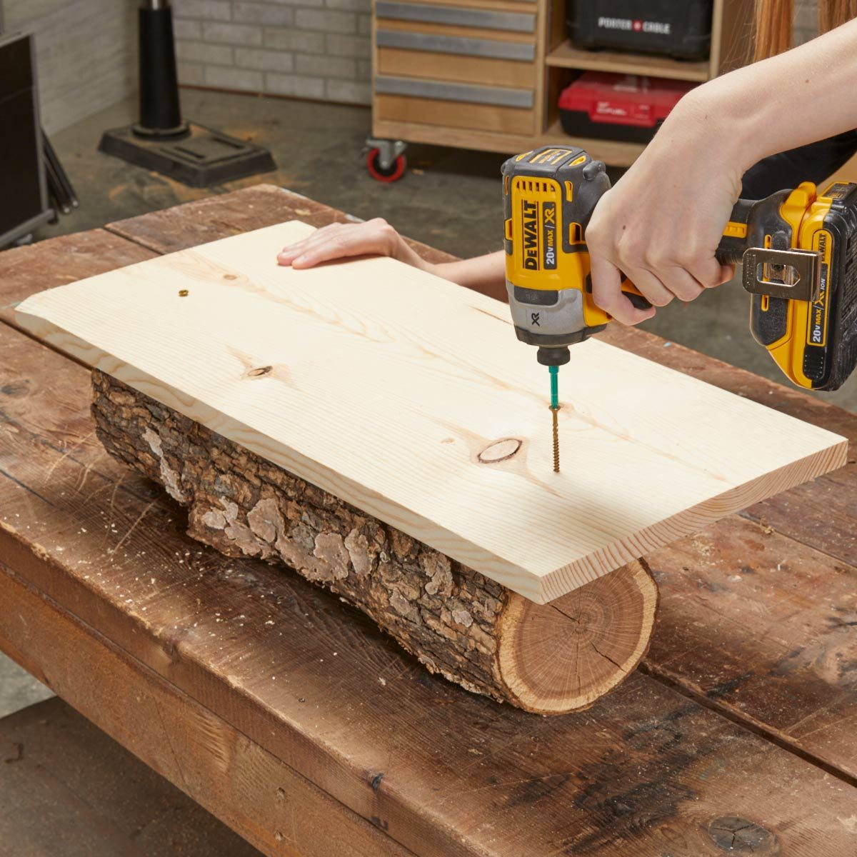 Wood log planter attach board to stabalize
