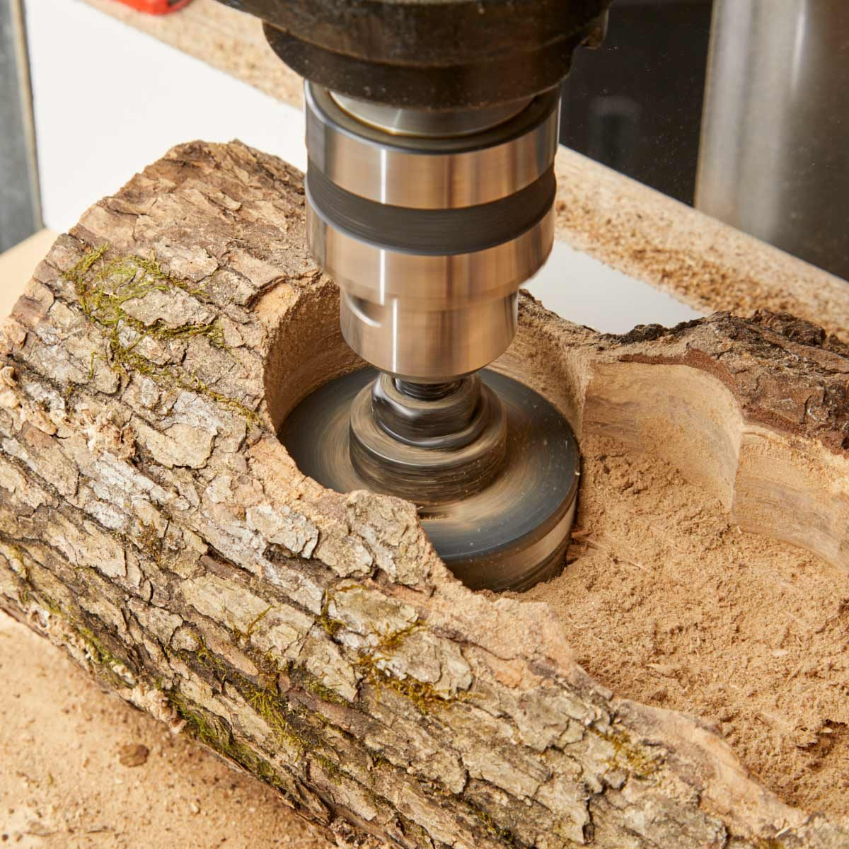 log planter hole saw cuts second pass