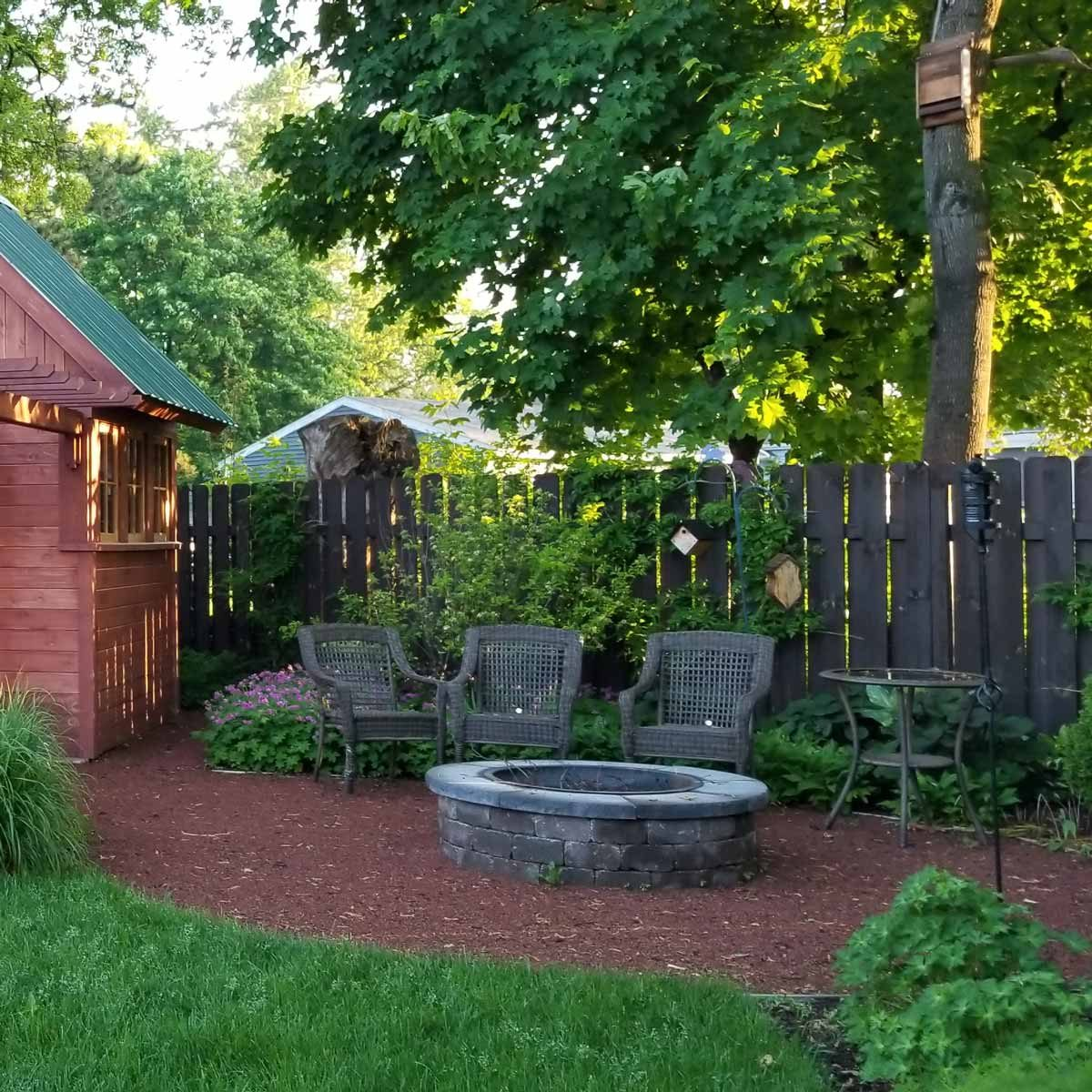 rustic cedar shed and fire-pit