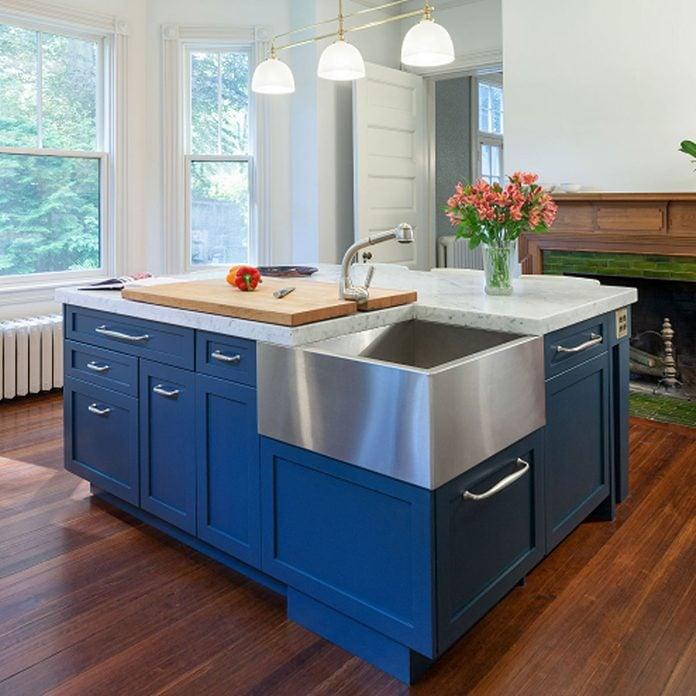 kitchen island blue paint