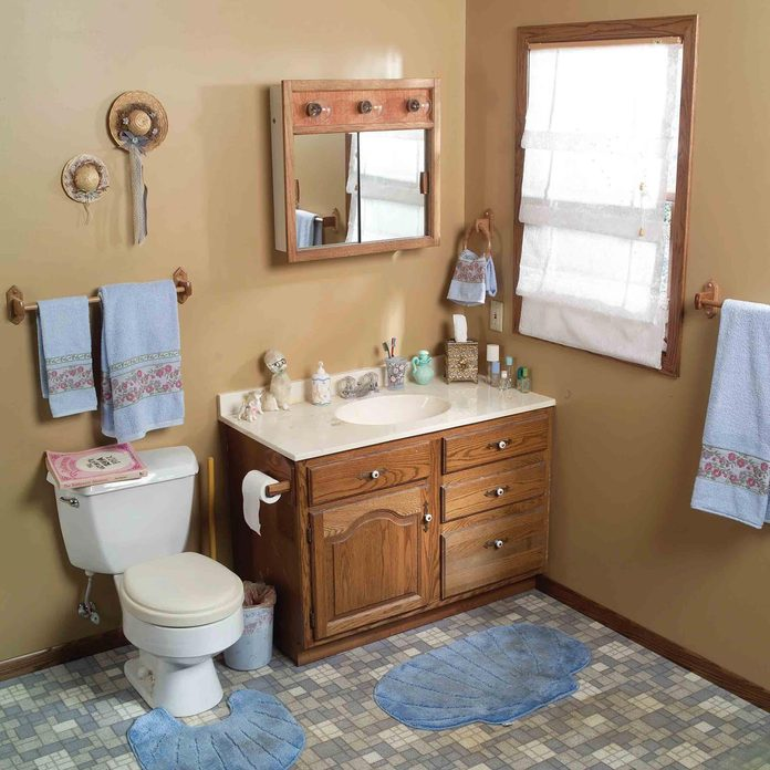 before and after out dated bathroom