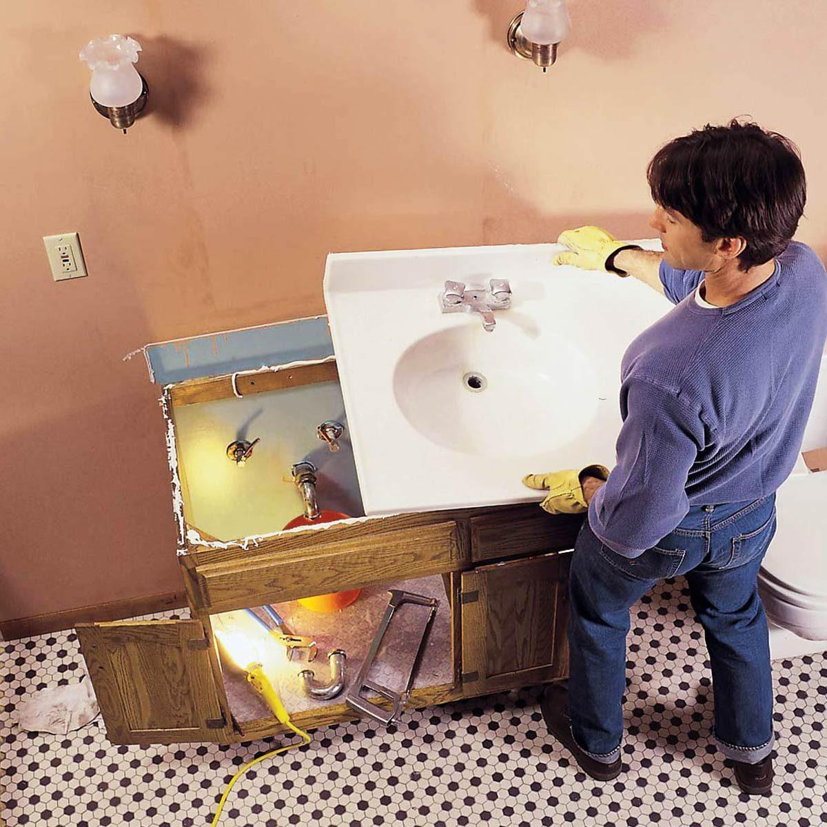 bathroom sink remodel before