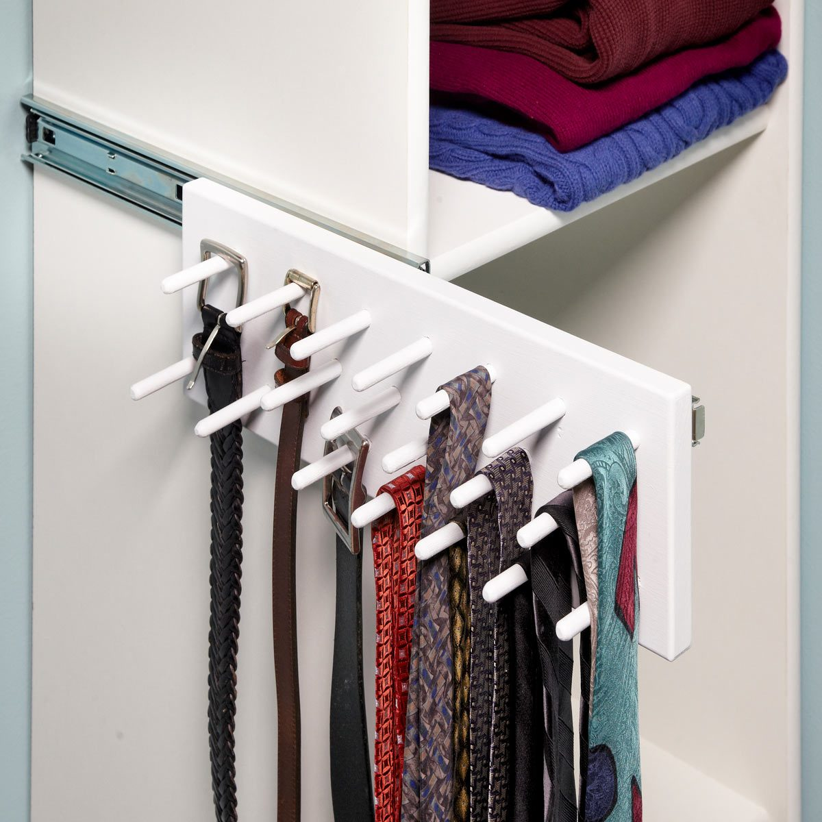 A Brilliant Way to Store Belts and Ties Out of the Way