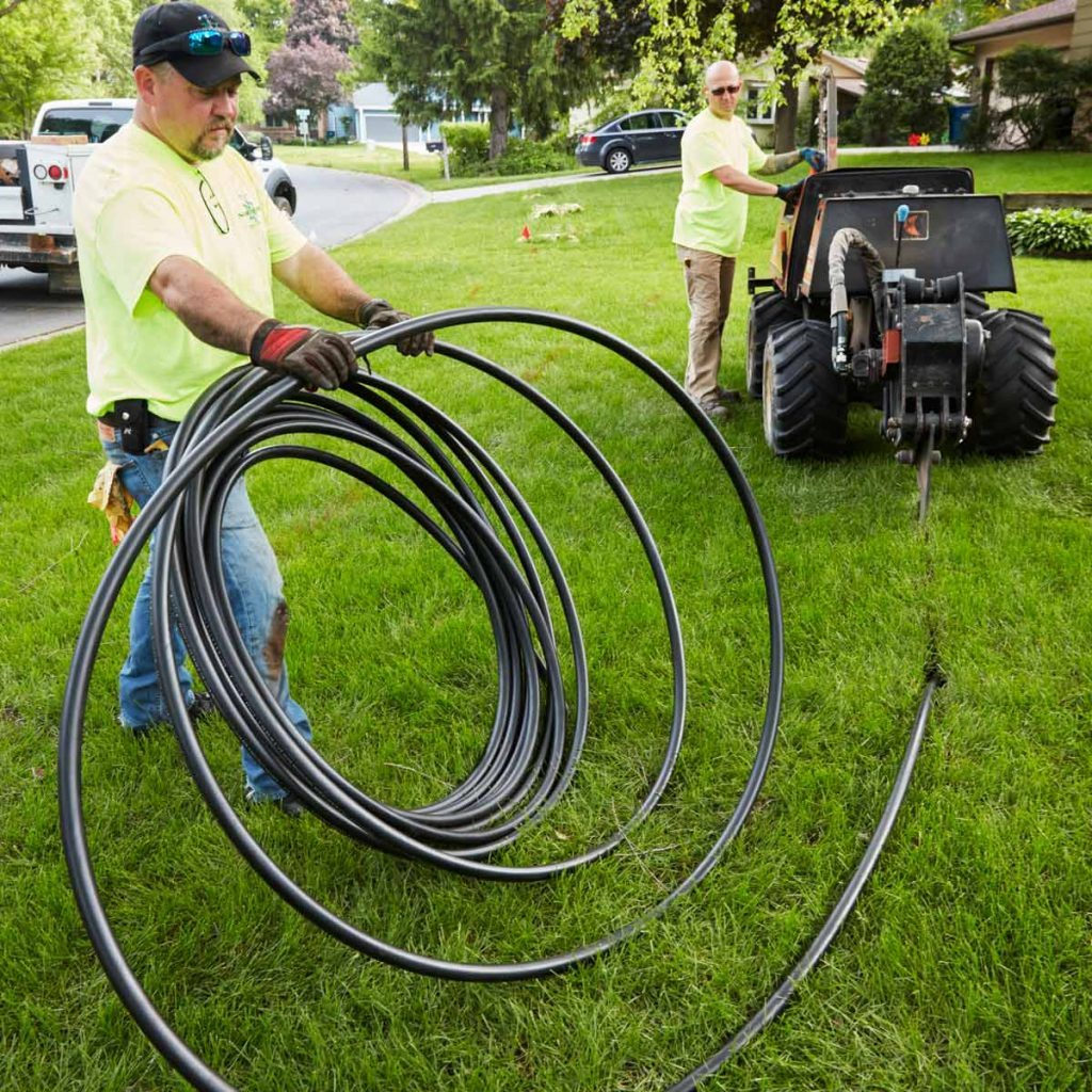 install an irrigation system landscaping vibratory plow