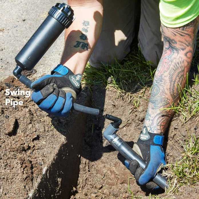 install pipe heads with swing pipe irrigation