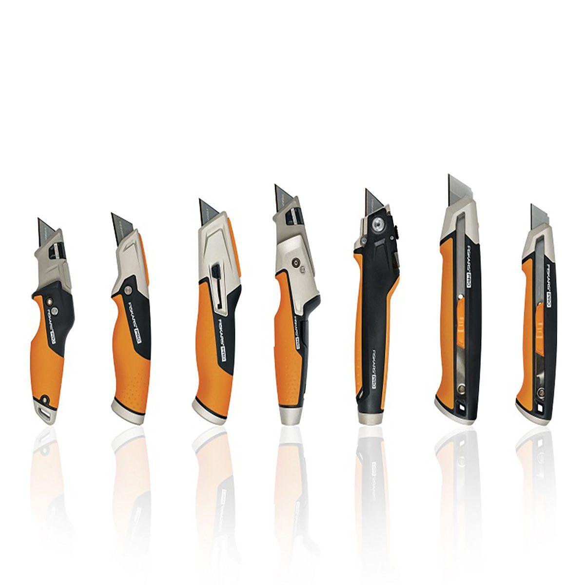 Line of Fiskars Utility Knives (Varying Sizes) | Construction Pro Tips