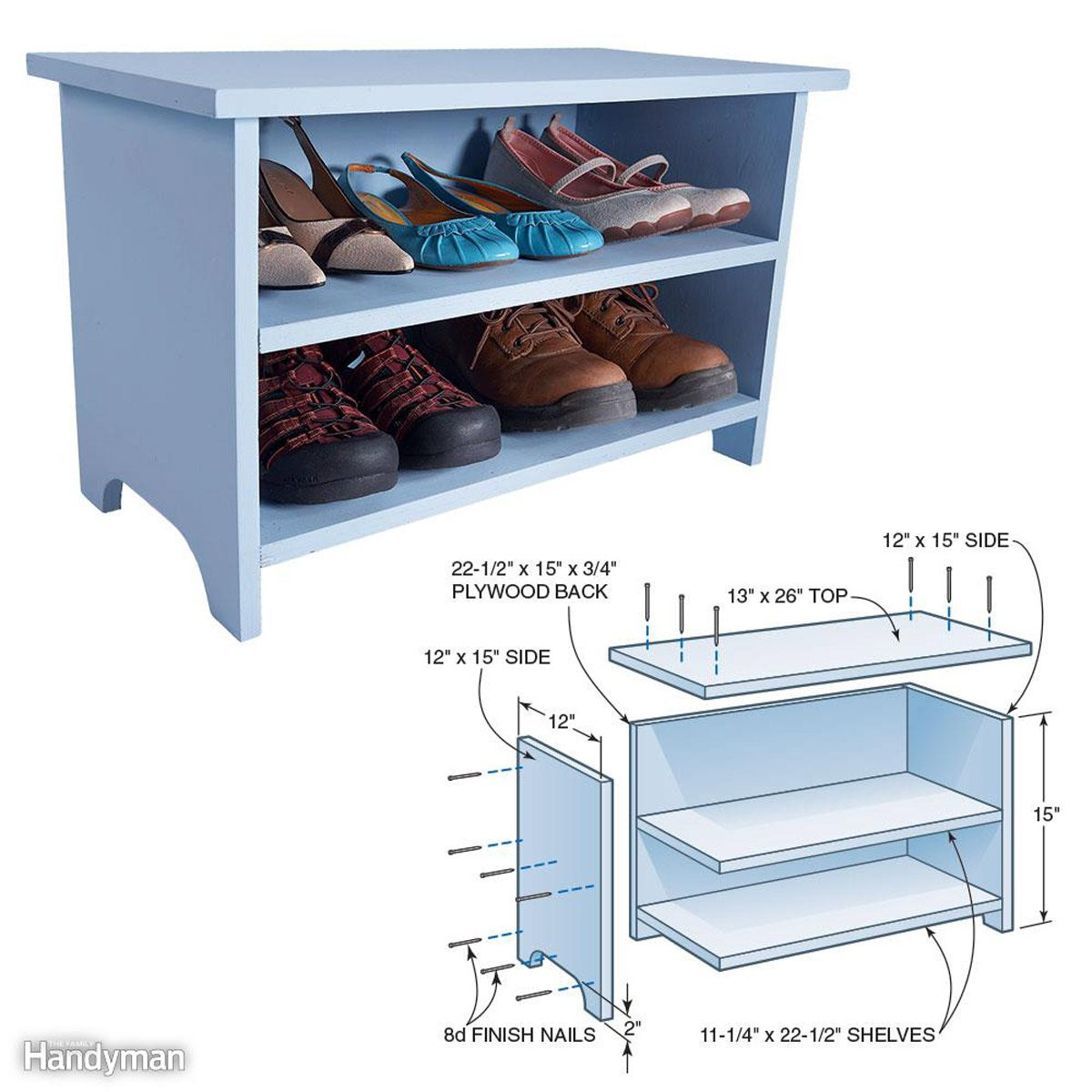 Diy Entryway Bench With Shoe Storage Family Handyman