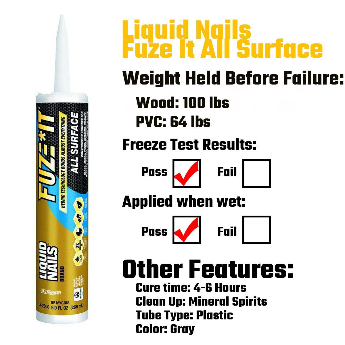 Liquid Nails Fuze It All Surfaces