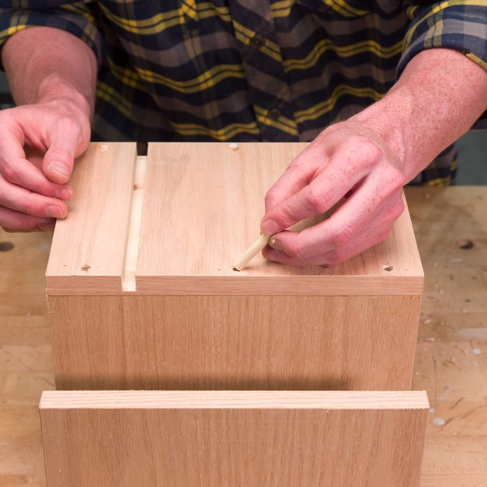 Sofa Arm Tray Table install the dowels