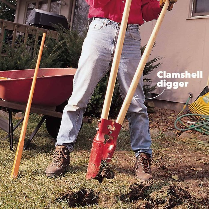 clamshell digger holes