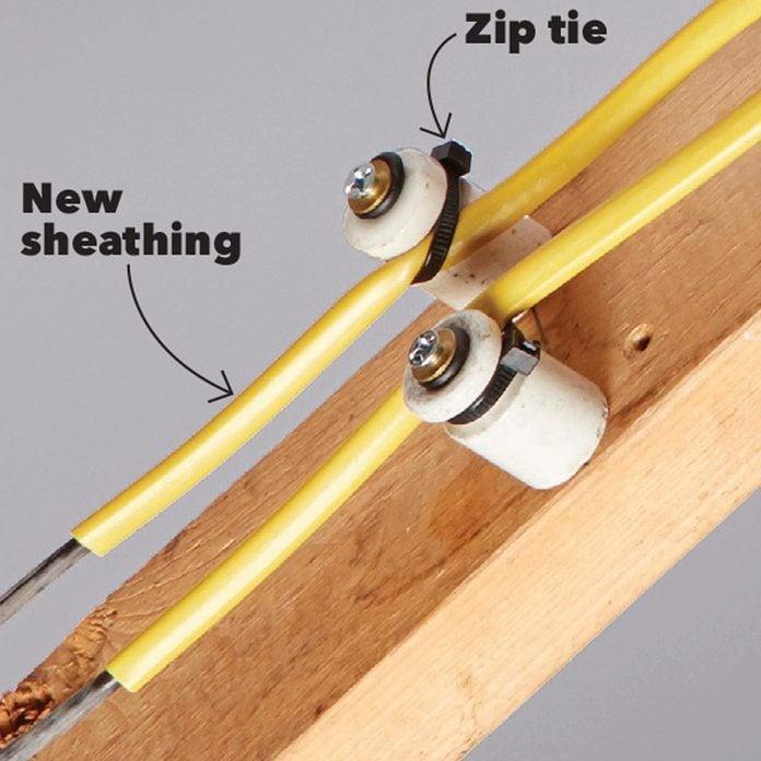 zip tie knob and tube insulation fix