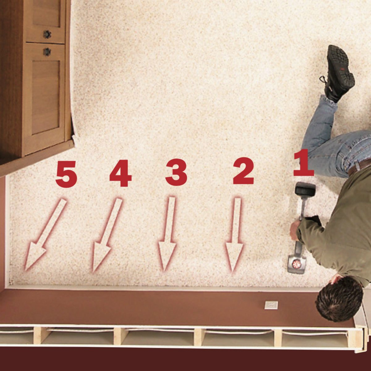 Stretch the carpet against the baseboard with the knee kicker and embed it into the tack strip. If it's too hard to stretch with the knee kicker, ...